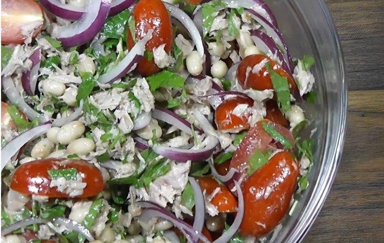 Салат с фасолью консервированной - рецепт с фото, очень вкусный