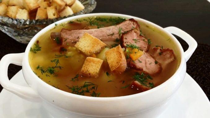 Как приготовить гороховый суп с копчеными ребрышками пошаговый рецепт