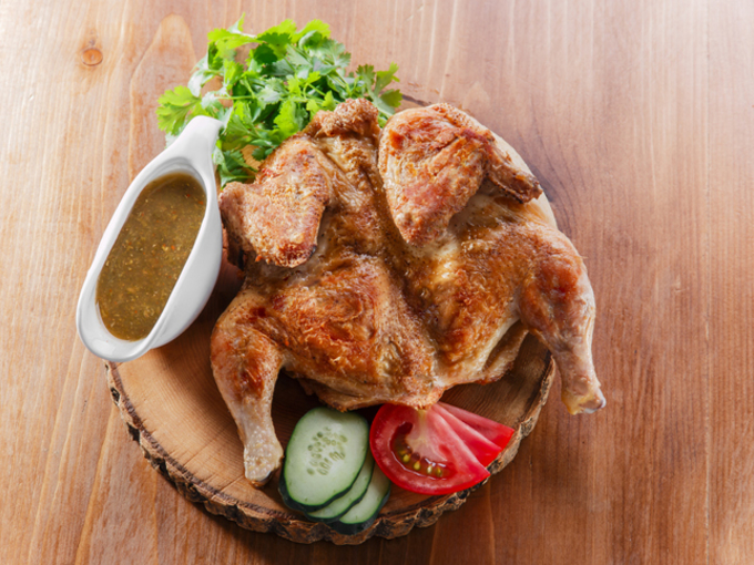 Цыплята табака с зеленым салатом – прекрасный рецепт с пошаговой инструкцией