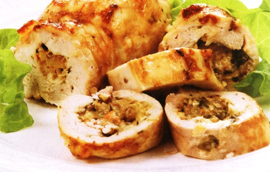 Сытный куриный рулет с грибами – пошаговый рецепт простого блюда