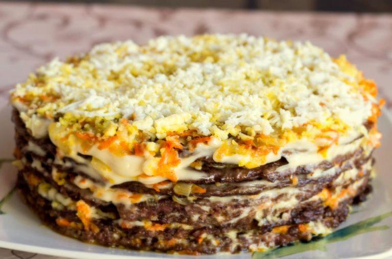 Печеночный торт с морковью и луком или как приготовить вкуснейшую закуску?